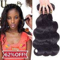 Uneed Hair 10A Grade Unprocessed Brazilian Virgin Hair Body Wave 3 Bundles Virgin Human Hair Extensions Natural Color (95-100g)/bundle 12 14 16 inches