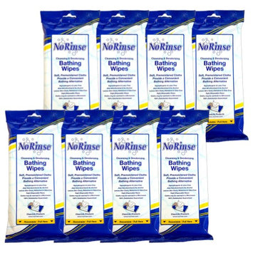 Cleanlife Products (Set/8) No Rinse Body Wipes - Caregiver Bathing Cloths 64 Wipes Total
