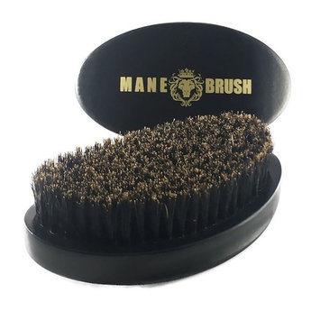 The Mane Brush - Mens Curved Military Hair and Beard Brush - Curved 360 Wave Brush - 100% Boar Bristle (Black Bristle)