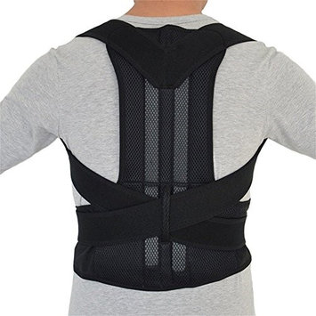 MWGears B003XL-B Intensive Thoracic Back Brace Magnetic Posture Corrector Support for Back Neck Shoulder Upper Back Pain Relief - Black Extra Large