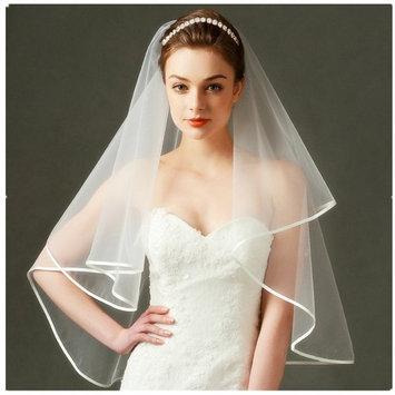 Wedding Bridal Headband set - Alinay Rose Gold with Round Crystals Bridal Headpiece and Wedding Veil