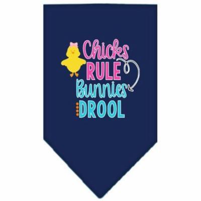 Chicks Rule Screen Print Bandana Navy Blue large