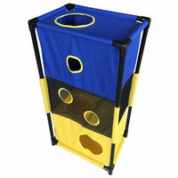 Pet Life Pet Life Kitty-Square Obstacle Soft Folding Sturdy Play-Active Travel Collapsible Travel Pet Cat House Furniture, Blue Yellow, One Size