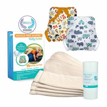 Tidy Tots Hassle Free 4 Diaper Essential Set with Forest Friends and Hippos Covers, Unisex, Multi-colored, One Size