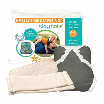 Tidy Tots Hassle Free 2 Diaper Trial Set with Grey Cover, Unisex, Multi-colored, One Size