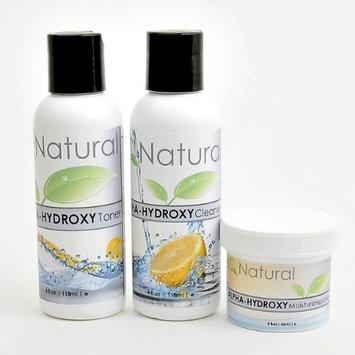 Organic Skin Care Regimen Kit - Glycolic Acid Exfoliate Treatment Alpha Hydroxy Acid (AHA) - Moisturizer Cleanser Toner - Minimize Pores & Reduce Breakouts, Appearance of Aging & Scars