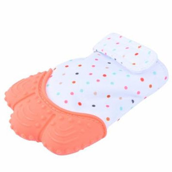Pretty See Sounding Baby Teething Mitten Hygienic Baby Soothing Mitt Practical Silicone Teether Mitten for Self-soothing Pain Relief, Orange