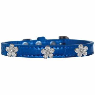 Silver Flower Widget Croc Dog Collar Blue Size 12