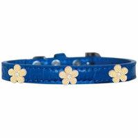 Gold Flower Widget Croc Dog Collar Blue Size 12