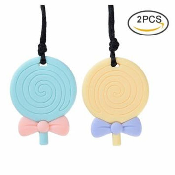 Silicone Teething Pendant - Pretty See Practical Sensory Teether Pendant Body-safe Silicone Teether Necklace Multi-functional Chew Teether Toys with Lollipop Shape, Set of 2
