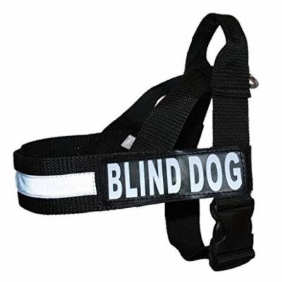 BLIND DOG Nylon Strap Service Dog Harness No Pull Guide Assistance comes with 2 reflective BLIND DOG removable patches. Please measure your dog before ordering.