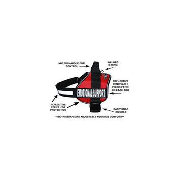 Emotional Support Nylon Dog Vest Harness. Purchase Comes with 2 Reflective Emotional Support Velcro pathces. Please Measure Your Dog Before Ordering (Girth 12-16