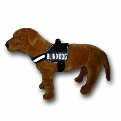 BLIND DOG Nylon Dog Vest Harness. Purchase comes with 2 reflective BLIND DOG removable pathces. PLEASE MEASURE your dog before ordering