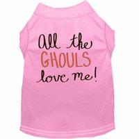 All The Ghouls Screen Print Dog Shirt Light Pink Xs (8)