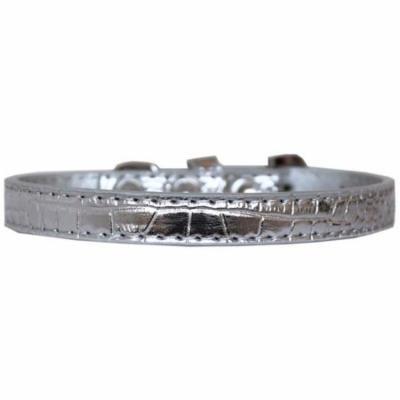 Wichita Plain Croc Dog Collar Silver Size 10
