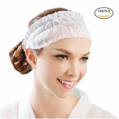 Disposable Spa Headbands-Pretty See Non-woven Headband Elastic Makeup Hair Band, Set of 100, White
