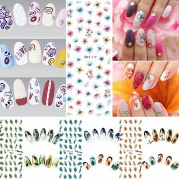 1 Sheet Flowers Water Transfer Decals Nail Art Stickers Tips DIY Manicure Tools