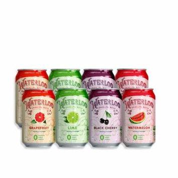 Waterloo Sparkling Water Variety Pack, Grapefruit, Lime, Black Cherry, Watermelon, 12 Fl Oz, 8 Ct