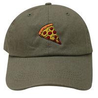 City Hunter C104 Pepperoni Pizza Cotton Baseball Dad Caps 14 Colors (Olive)