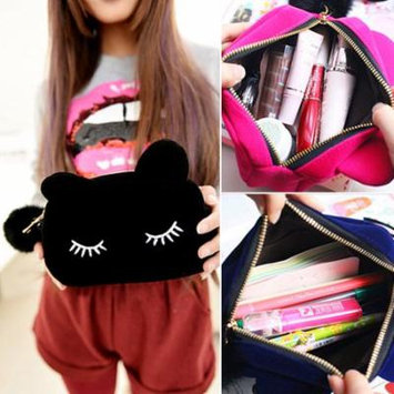 Portable Cartoon Cat Coin Storage Case Travel Makeup Pouch Soft Cosmetic Bag