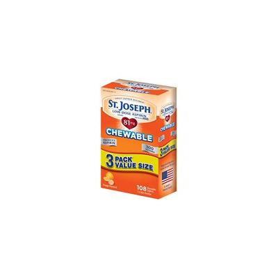 2 Packs St. Joseph Low Dose Chewable Aspirin Orange 3 packets - 108 Count Each