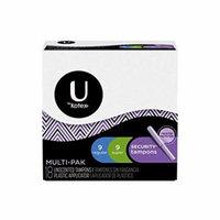 5 Pack U by Kotex Security Tampons Multipack 9 Regular & 9 Super (=18) Per Box