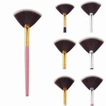 Portable Slim Handle Fan Shape Makeup Brush Powder Foundation Cosmetic Tool