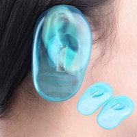 2 Pcs Clear Silicone Ear Cover Home Salon Hair Dye Shield Protectors Blue