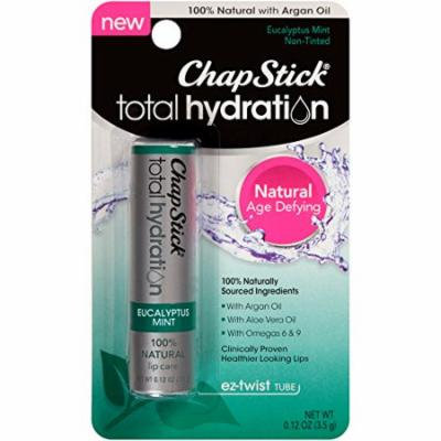 2 Pack ChapStick Total Hydration 100% Natural, Eucalyptus Mint, 0.12 Oz Each