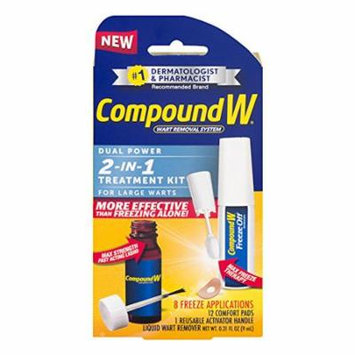 2 Pack Compound W 2-in-1 Wart Removal Kit Max Strength for Large Warts