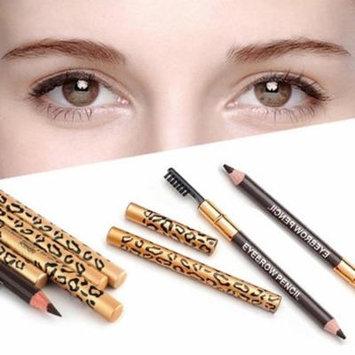 Waterproof Leopard Print Makeup Double Ended Eyebrow Pencil Brush Handy Cosmetic