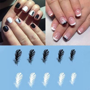 2Pcs Women Fashion Feather Nail Art Decal Water Transfer Stickers Tips Decoration