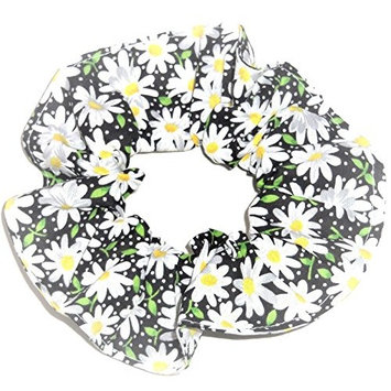 Floral Hair Scrunchie Black Daisies Flowers Handmade by Scrunchies by Sherry Ponytail