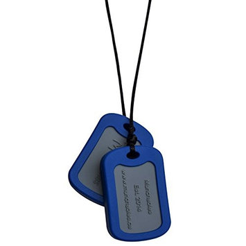 Sensory Oral Motor Aide Chewelry Necklace - Chewy Jewelry for Sensory-Focused Kids with Autism or Special Needs - Calms Kids and Reduces Biting/Chewing - Navy Blue Military Dog Tags