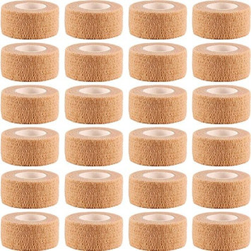 Frienda 24 Pieces Adhesive Wrap Bandage Rolls Self-Adherent Tape for Sports, Wrist and Ankle, 5 Yards (Skin Color, 1 inch)