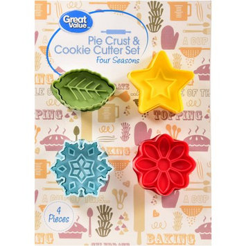 Wal-mart Stores, Inc. Great Value Pie Crust & Cookie Cutter Set Four Seasons, 4 pieces