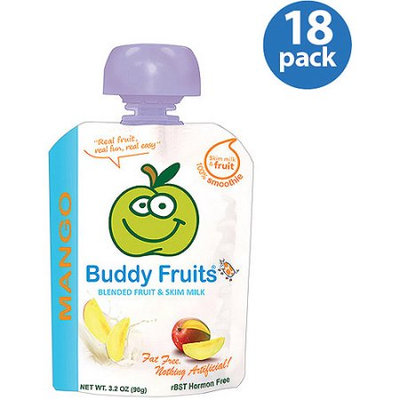 Buddy Fruits Mango Blended Fruit & Milk, 3.2 oz (Pack of 18)