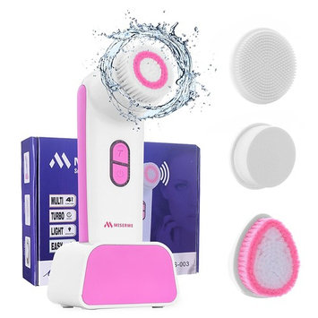 Miserwe Face Brush 4 in 1 IPX4 Waterproof Sonic Facial Brush 2 Speed 3 Sonic Mode Setting Facial Cleanser Brush with Charging Dock Best to Deep Pore Cleansing Exfoliate Scrub Skin