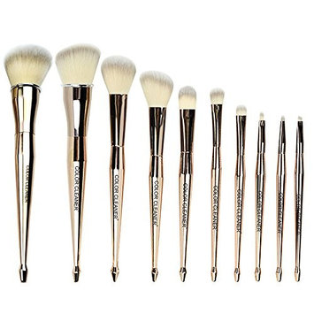 COLOR CLEANER Mermaid Makeup Brush Set Gold Fish Tail Professional Synthetic Foundation Blush Concealer Contour Highlight Blend Eye Shadow...