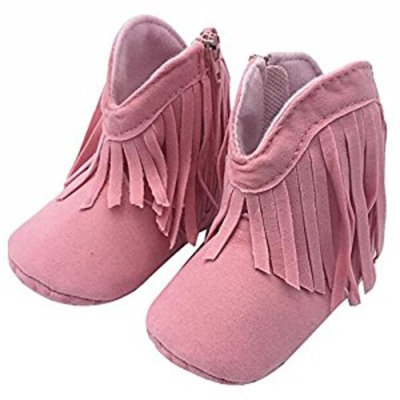 Highdas Newborn Baby Girl Boy Kids Prewalker Solid Fringe Shoes Infant Toddler Soft Soled Anti-slip Boots Booties