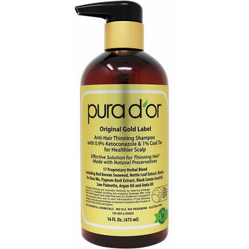 PURA D'OR Anti-Hair Thinning Shampoo - Dandruff & Thinning Hair 0.9% KETO-CONAZOLE & 0.5% Coal Tar for Dry & Itchy Scalp, Sulfate Free, Men & Women, 16 Fl Oz (Packaging may Vary)