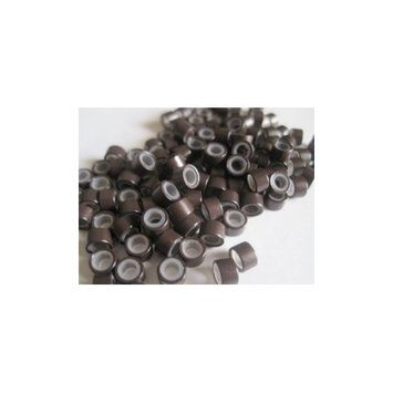 100 Pcs Brown 5mm Silicone Lined Micro-ring Links Beads Linkies for I Stick Hair Extension Installation and Feathers