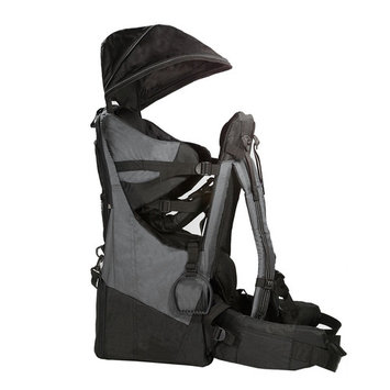 Clevr Deluxe Baby Backpack Hiking Cross Country Lightweight Carrier w/ Stand and Sun Shade Visor, Grey