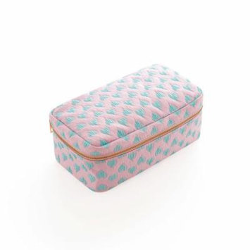 Women's Travel Portable Cosmetic Bag Folding Makeup Pouch Case Cosmetic and Toiletries Organizer (Pink&Lake Blue)