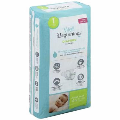 Well Beginnings Premium Diapers Size 1 44.0 ea(pack of 3)