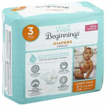 Well Beginnings Premium Diapers Size 3 32.0 ea(pack of 4)