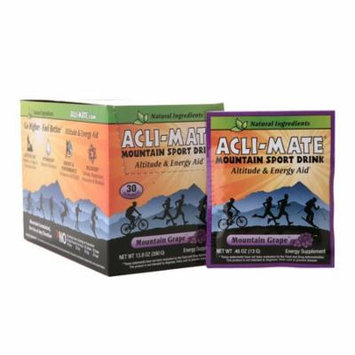 Acli-Mate Mountain Sport Drink Altitude & Energy Aid Packets Mountain Grape0.46 oz. x 30 pack(pack of 4)