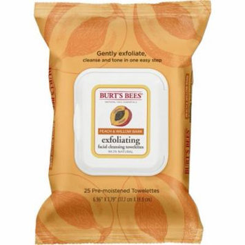 Facial Cleansing Towelettes - Peach Willow Bark Exfoliating by Burt's Bees - 25 Pc Towelettes (Pack of 8)