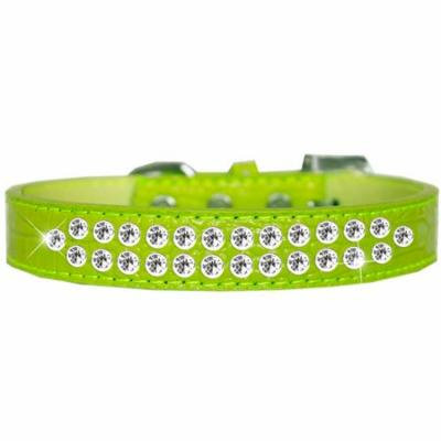 Two Row Clear Jewel Croc Dog Collar Lime Green Size 18