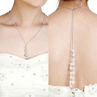 FXmimior Fashion Women Wedding Bridal Jewelry Backdrop Necklace Rhinestone Handmade Long Chain Pendant Party Wedding Necklace Jewelry For Women